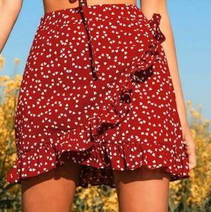 SHEIN ruffle wrap hearts mini skirt XS *V